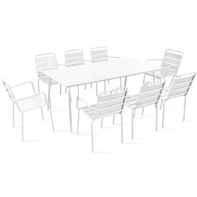Table de jardin et 8 fauteuils en métal OVIALA