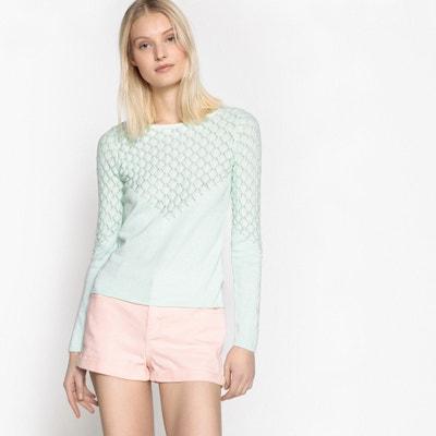 Sweter z cienkiej dzianiny, ażurowy detal MADEMOISELLE R