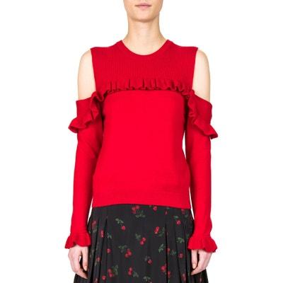 Camisola em lã, com ombros descobertos e folhos Camisola em lã, com ombros descobertos e folhos THE KOOPLES