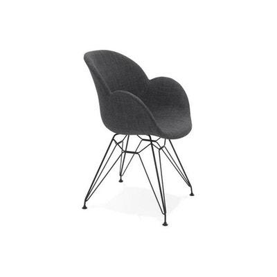 Chaise Design En Tissu Gris TIMEO DECLIKDECO
