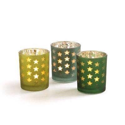 CASPAR Glass Star-pattern Candle Holders set of 3 CASPAR Glass Star-pattern Candle Holders set of 3 La Redoute Interieurs