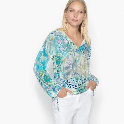T-shirt col V, imprimé, manches longues ANNE WEYBURN