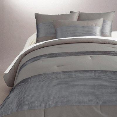 couvre lit blanc et gris la redoute. Black Bedroom Furniture Sets. Home Design Ideas