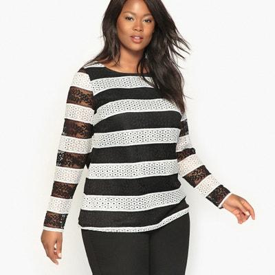 Striped Blouse with Lace Detail CASTALUNA