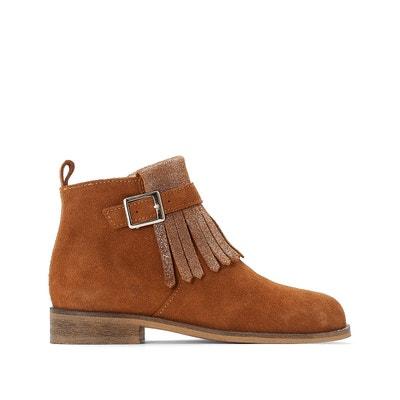 Boots zippées en cuir et à franges 26-39 La Redoute Collections