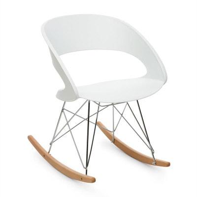 oneconcept travolta chaise bascule rtro coque plastique dur bois blanc oneconcept - Chaise A Bascule Blanche