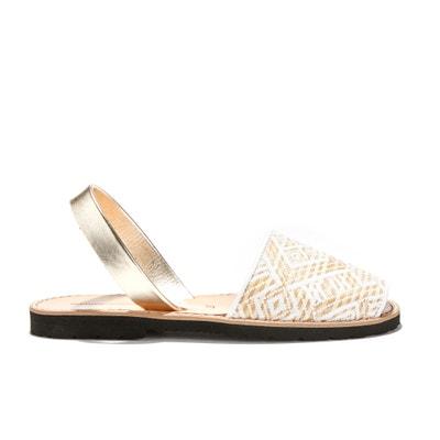 Sandales plates bicolores AVARCA RAFIA MINORQUINES