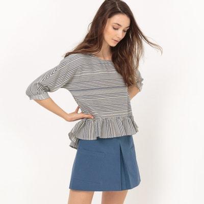 Gestreepte blouse met 3/4 mouwen, katoen ESPRIT