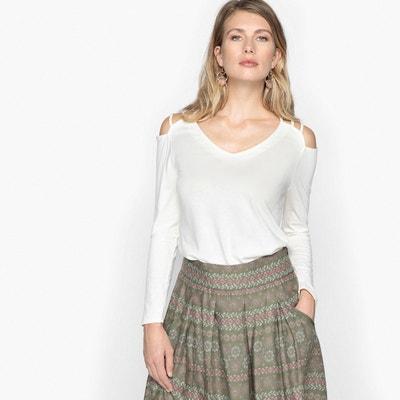 T-shirt con scollo a V tinta unita, maniche lunghe ANNE WEYBURN