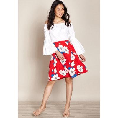 Falda corta evasé, estilo patinadora, estampado floral Falda corta evasé, estilo patinadora, estampado floral YUMI