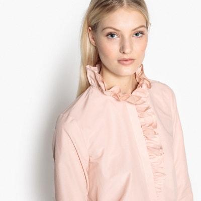 Camisa com corte cintado, gola subida, mangas compridas Camisa com corte cintado, gola subida, mangas compridas MADEMOISELLE R