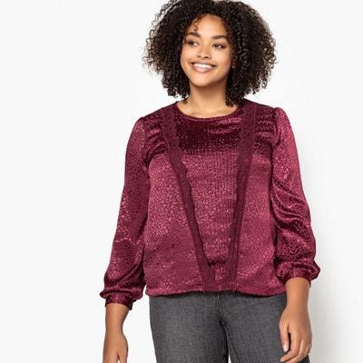 Blusa con cuello redondo, detalles de encaje y manga larga Blusa con cuello redondo, detalles de encaje y manga larga CASTALUNA