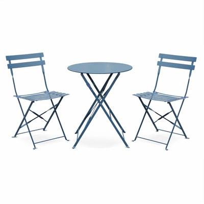 Salon De Jardin Bistrot Pliable Emilia Rond Bleu Gris Table 60cm Avec Deux Chaises