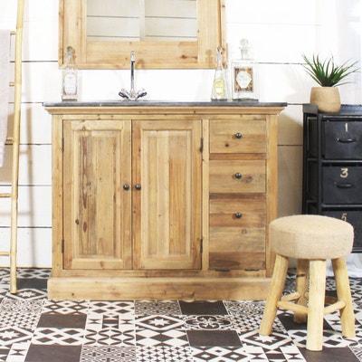 meuble de salle de bain bois massif 1 vasque 2 portes 2 tiroirs - Meuble Salle De Bain Bois 1 Vasque