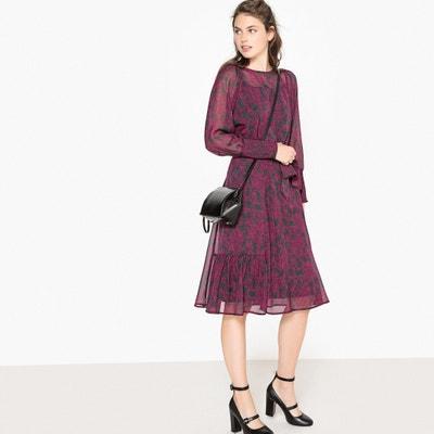 Floral Print Tie-Waist Midi Dress Floral Print Tie-Waist Midi Dress La Redoute Collections