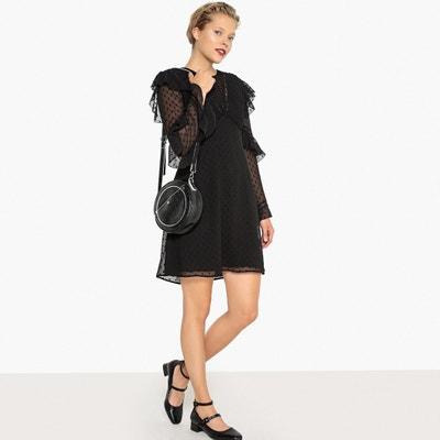 Kleid mit Rüschen aus Plumetis, transparenter Rücken Kleid mit Rüschen aus Plumetis, transparenter Rücken MADEMOISELLE R