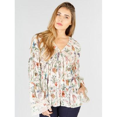 Bluse, V-Ausschnitt, Blumenmuster, lange Ärmel RENE DERHY