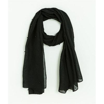 b1e06e015b1a9 Foulard noir uni avec perles Foulard noir uni avec perles GRAIN DE MALICE