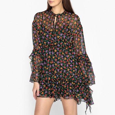 Kurzes Kleid aus bedrucktem Voile, Blumenmuster Kurzes Kleid aus bedrucktem Voile, Blumenmuster THE KOOPLES