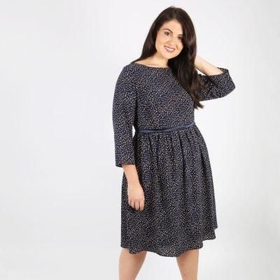 Halblanges Kleid, gerade Form, bedruckt, 3/4-Ärmel KOKO BY KOKO