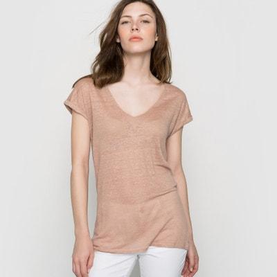 Camiseta de lino con cuello de pico Camiseta de lino con cuello de pico La Redoute Collections