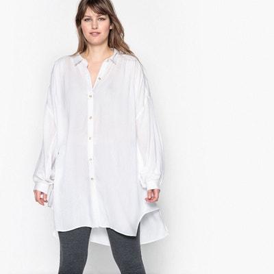 Blouse tunique longue plissée devant col chemise CASTALUNA
