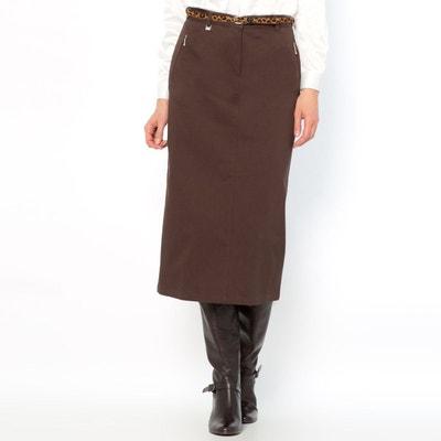 Jupe, satin de coton stretch, long. 75 cm ANNE WEYBURN