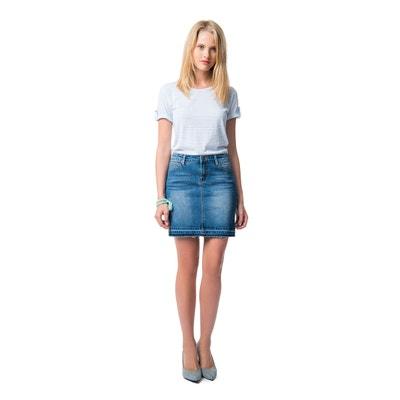 Denim Pencil Skirt with Frayed Hem Denim Pencil Skirt with Frayed Hem BEST MOUNTAIN