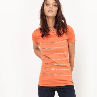 T-shirt con paillettes ricamate, scollo rotondo La Redoute Collections