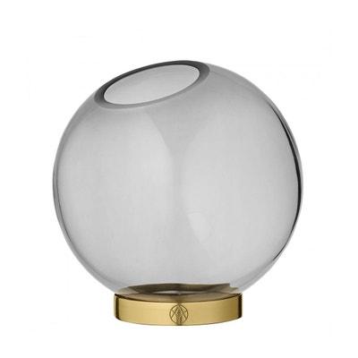Vase Globe Verre Medium Noir et Laiton Diam 16 cm AYTM Vase Globe Verre Medium Noir et Laiton Diam 16 cm AYTM AYTM