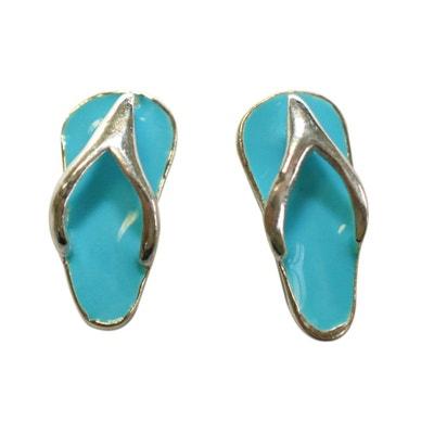 Boucles d'oreilles Tong Claquette Havaianas Bleu Argent 925 Boucles d'oreilles Tong Claquette Havaianas Bleu Argent 925 SO CHIC BIJOUX