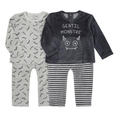 2-delige fluwelen pyjama 0 mnd-3 jr, set van 2 La Redoute Collections