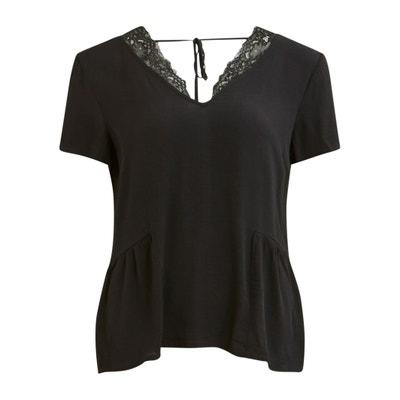 Kurzärmelige Bluse mit V-Ausschnitt und Spitze hinten Kurzärmelige Bluse mit V-Ausschnitt und Spitze hinten VILA