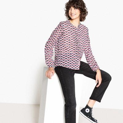 Bluse mit grafischem Print und Volants an den Schultern Bluse mit grafischem Print und Volants an den Schultern PEPE JEANS