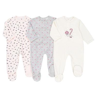 Lot de 3 pyjamas bonbons en velours 0 mois - 3 ans Lot de 3 pyjamas bonbons en velours 0 mois - 3 ans LA REDOUTE COLLECTIONS