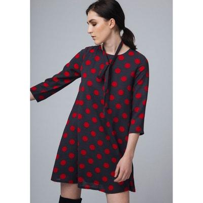 Getupftes Kleid mit gerader Schnittform und 3/4-Ärmeln Getupftes Kleid mit gerader Schnittform und 3/4-Ärmeln COMPANIA FANTASTICA