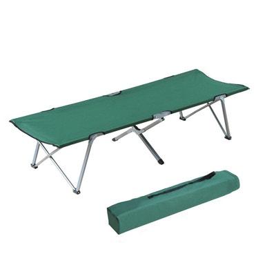 Lit de camp lit d'appoint pliable 193 x 64 x 40 cm avec sac de transport polyester Oxford métal vert et gris - OUTSUNNY OUTSUNNY