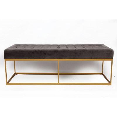 Banquette design velours gris pieds métal 122x48cm PIER IMPORT