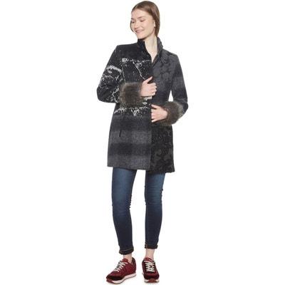 Manteau mi-long patchwork, laine mélangée Manteau mi-long patchwork, laine mélangée DESIGUAL
