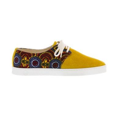 basket à imprimé wax et daim jaune ocre basket à imprimé wax et daim jaune ocre PANAFRICA