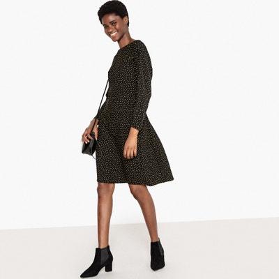 Sukienka w groszki, z tyłu marszczona imitacją paska La Redoute Collections