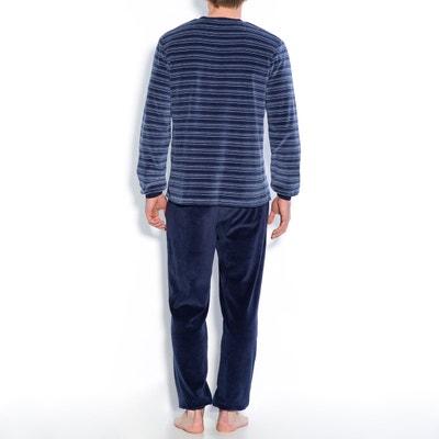 Cotton Blend Velour Long-Sleeved Pyjamas Cotton Blend Velour Long-Sleeved Pyjamas La Redoute Collections