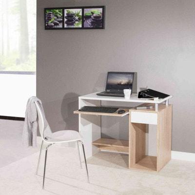 Bureau en bois coloris naturel et blanc avec tablette à clavier coulissante - BU6012 TERRE DE NUIT