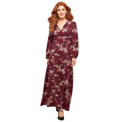 26afa9477656 Robe portefeuille femme longue à motifs floraux et manches longues JOE  BROWNS