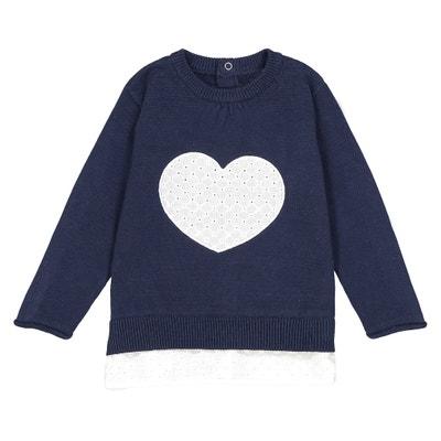 Jersey con corazón bordado 1 mes - 3 años La Redoute Collections