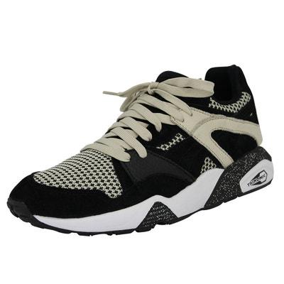 Puma BLAZE TECH Chaussures Mode Sneakers Homme Cuir Suede Noir Beige Trinomic Puma BLAZE TECH Chaussures Mode Sneakers Homme Cuir Suede Noir Beige Trinomic PUMA