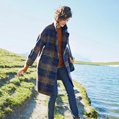 Manteau long imprimé à carreaux, plein hiver Manteau long imprimé à carreaux, plein hiver SEE U SOON