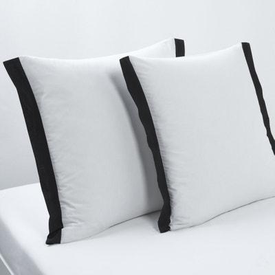 Taie d'oreiller carrée Épure, blanc/noir Taie d'oreiller carrée Épure, blanc/noir La Redoute Interieurs
