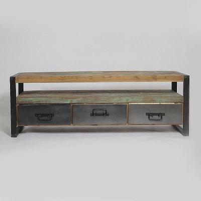 5fc235323c0d96 Meuble TV industriel 3 tiroirs bois et métal   MOX12 Meuble TV industriel 3 tiroirs  bois