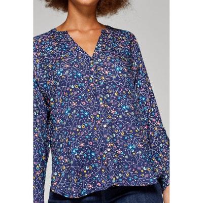 Blusa con cuello de pico gráfica, de manga larga Blusa con cuello de pico gráfica, de manga larga ESPRIT